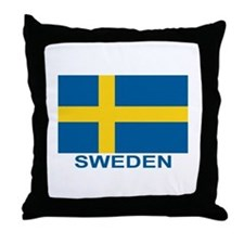 Swedish Flag (w/title) Throw Pillow