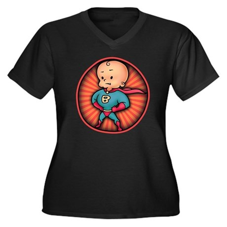 Future Hero Baby Women's Plus Size V-Neck Dark T-S