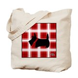 Red & White Plaid Scottie Tote Bag