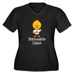 Bibliophile Chick Women's Plus Size V-Neck Dark T-