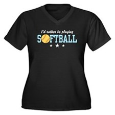 Softball Women's Plus Size V-Neck Dark T-Shirt
