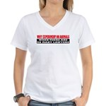 Why Experiment on Animals Women's V-Neck T-Shirt