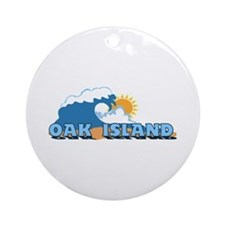 Oak Island NC - Waves Design Ornament (Round)