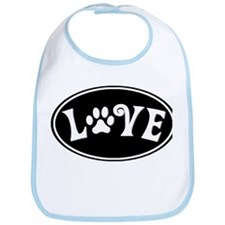 Love Paw Black Oval Bib