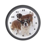 Saint Bernards in the snow Wall Clock