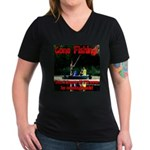 Gone Fishing Women's V-Neck Dark T-Shirt