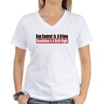 Gun Control Is A Crime Women's V-Neck T-Shirt
