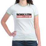 Gun Control Is A Crime Jr. Ringer T-Shirt
