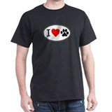 I Heart Paw White Oval T-Shirt