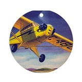 Piper Cub In Flight Ornament (Round)