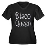 DISCO QUEEN Women's Plus Size V-Neck Dark T-Shirt