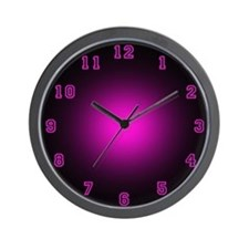 Pink Neon Face Wall Clock