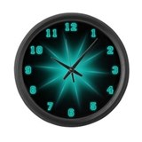 Large Blue Neon Star Wall Clock