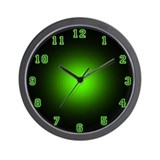 Green Neon Face Wall Clock