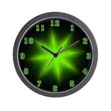 Green Neon Star Wall Clock