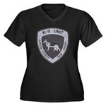 Hudson County K9 Women's Plus Size V-Neck Dark T-S