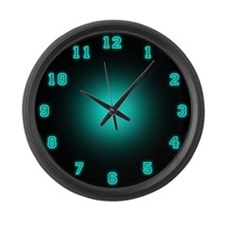 Large Blue Neon Face Wall Clock