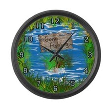 Large Gone Fishing Wall Clock