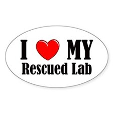 I Love My Rescued Lab Decal