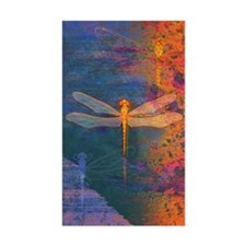 Flaming Dragonfly Rectangle Decal