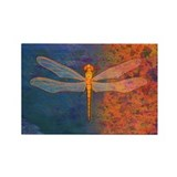 Flaming Dragonfly Rectangle Magnet (100 pack)