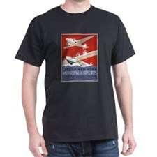 New York City Airports Black T-Shirt