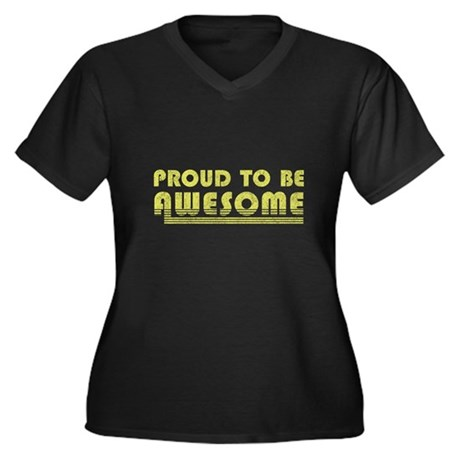 Proud to be Awesome Womens Plus Size V-Neck Dark