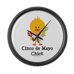 Cinco de Mayo Chick Large Wall Clock