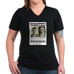 Young Brothers Wanted Women's V-Neck Dark T-Shirt