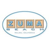 Zuma Beach Ca Oval Decal