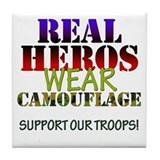 Real Heros wear camouflage Tile Coaster
