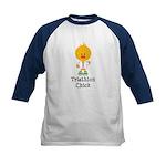 Triathlon Chick Kids Baseball Jersey