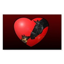 Dog & Horse Heart Rectangle Decal