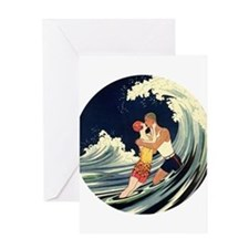 Vintage Art Deco Love in the Surf Greeting Card