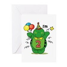 Happy Turtle 2nd Birthday Greeting Cards (Pk of 20