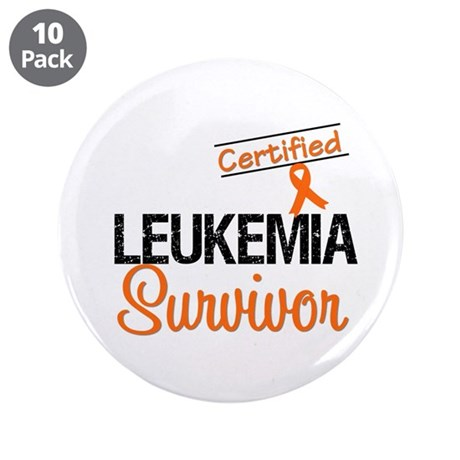 "CertifiedLeukemiaSurvivor 3.5"" Button (10 pack)"