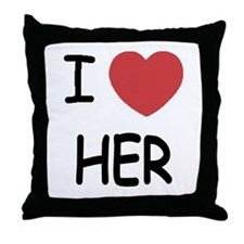 I heart her Throw Pillow