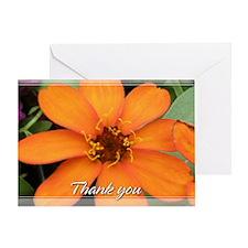 Orange Zinnia Thank You Card 5x7