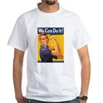 We Can Do It Poster (Front) White T-Shirt