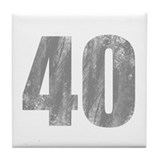 Stonewashed 40th Birthday Tile Coaster