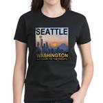 Seattle WA Skyline Graphics Sunset Women's Dark T-