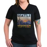 Seattle WA Skyline Graphics Sunset Women's V-Neck