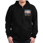 Seattle WA Skyline Graphics Sunset Zip Hoodie (dar