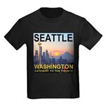 Seattle WA Skyline Graphics Sunset Kids Dark T-Shi
