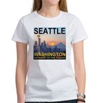 Seattle WA Skyline Graphics Sunset Women's T-Shirt