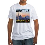 Seattle WA Skyline Graphics Sunset Fitted T-Shirt