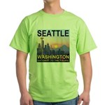 Seattle WA Skyline Graphics Sunset Green T-Shirt