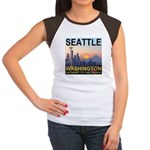 Seattle WA Skyline Graphics Sunset Women's Cap Sle