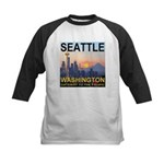 Seattle WA Skyline Graphics Sunset Kids Baseball J