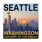 Seattle WA Skyline Graphics Sunset Tile Coaster